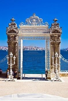 Turkey. Istanbul. Gate of Dolmabahce Palace. ( Palace made for the Architecte Balyan, Armenian)