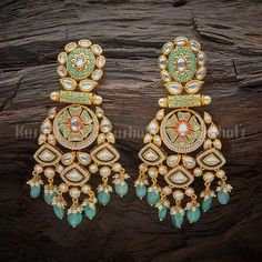 Emerald Earrings / Emerald / Emerald Cut Halo Earrings in Gold / Emerald Earrings Studs / Natural Emerald Earrings / Green Emerald - Fine Jewelry Ideas Indian Jewelry Earrings, Jewelry Design Earrings, Designer Earrings, Fashion Earrings, Silver Necklaces, Gold Jewelry, Jewelry Accessories, Antique Jewellery, Bridal Jewellery