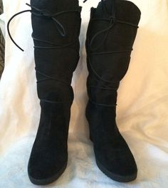 Wedge Heel Ugg Black Suede Leather With Sheep Skin Lining Lace Up Boots Size 9M #UGGAustralia #FashionKneeHigh