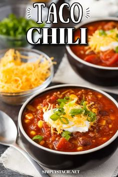 Taco Chili - A Mexican inspired chili recipe filled with ground beef, beans, corn and taco seasonings. Ready to eat in under an hour! Taco Sauce, Taco Seasoning, National Chili Day, Taco Chili, Nacho Chips, Soup And Sandwich, Soup Recipes, Yummy Recipes, Chili Powder