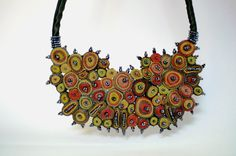Statement necklace green textile necklace by AudraTextileStudio