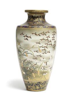 A tall ovoid Satsuma vase By Kinkozan, Meiji Period