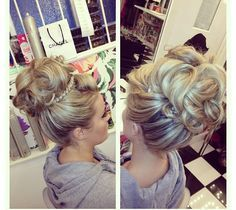 My absolute favorite type of updo...big, high, backcombed, intricate and dramatic. Done by England's Peaches Creme salon team.