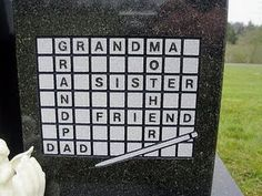 Scrabble gravestone . . . not a crossword, but nevertheless:  oh my goodness!