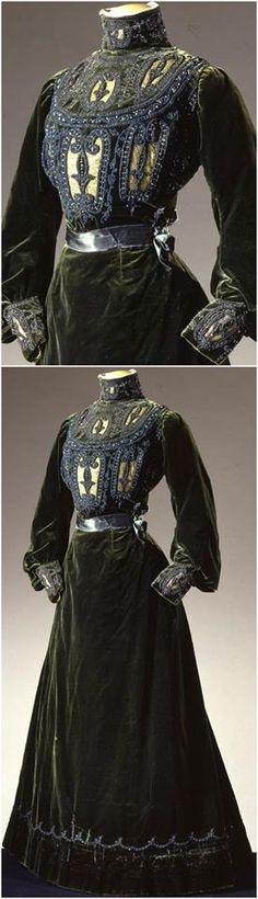 A stunning two piece gown in green velvet, by Grands Magasins Nouveautés C. Paventa, Rome, c. 1900, at the Pitti Palace Costume Gallery. Via Europeana Fashion.