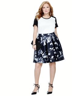 Skater Skirt In Floral Print by @yoursclothing  Available in sizes 14-26