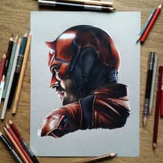 Daredevil. Superheroes and the Dark Side Drawings. By Benjamin Davis.
