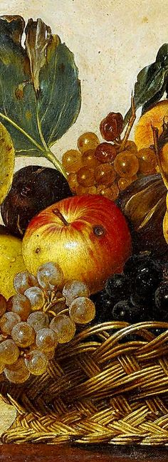 Caravaggio (Michelangelo Merisi da Caravaggio) - - Basket of Fruit sweets, and chocate Michelangelo Artist, Michelangelo Caravaggio, Michelangelo Paintings, Baroque Painting, Baroque Art, Pierre Auguste Renoir, Edouard Manet, Renaissance Paintings, Renaissance Art