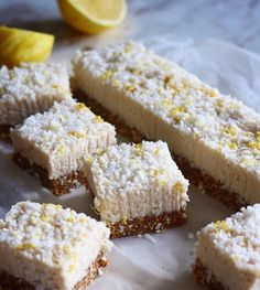 Who wants this no bake and seriously delicious  Coconut & Lemon Squares created by @amylecreations you can easily make them at home  #recipe  Makes 10 squares Line a 10cm by 20cm baking pan with baking paper. BASE  Ingredients : 1/2 cup raw buckwheat groats  1/2 cup raw almonds 6 medjool dates pitted and chopped  pinch of salt  Instruction: Using a food processor or high speed blender mix all ingredients until just combined and the mixture sticks together. Press into the bottom of the pan…