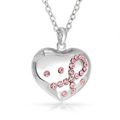 Bling Jewelry Pink Ribbon Breast Cancer Awareness Heart Pendant Necklace