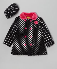 Take a look at this Black & Pink Corduroy Polka Dot Swing Coat - Girls on zulily today!