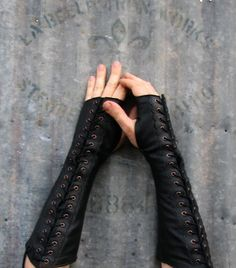 Long Black Leather Steampunk Fingerless Gloves by VampieOodles, $78.00