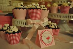 Hot chocolate cupcakes at a pink carriage baby shower #hotchocolate #cupcakes