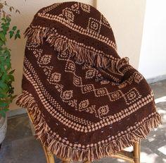 #Woodstock #Hippie #Poncho #Vintage #Crochet #Embroidered #Brown   Vintage Crochet Embroidered Poncho  Pashmina by VintageHomeStories,