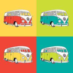 Volkswagen Camper Van Pop Art (Kombi // VW) Art Print Hippie Party, Vw Camper, Campers, Pallet Art, Vw T1, Felt Crafts, Retro, Painted Rocks, Pop Art