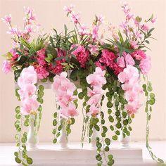 Fuschia Wedding, Pink Wedding Colors, Green Wedding, Pretty Flowers, Silk Flowers, European Wedding, Wedding Ceremony Flowers, Hanging Flowers