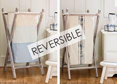 DIY Foldable Wood Hamper…with Reversible Bag Insert