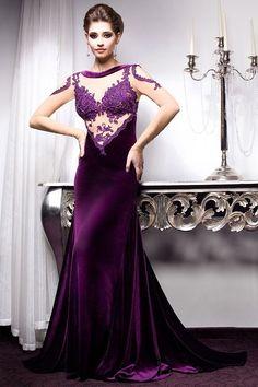 Мода фиолетовый длинные вечерние платья 2017 длинные рукава аппликация кружева тонкий женщины театрализованное платье формальные платье партии vestidos de fest