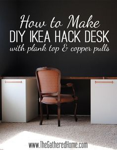 How to Make a DIY Ikea Hack Desk with Plank Top and copper pulls! Full tutorial and helpful shopping list!