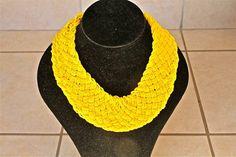 African Zulu Beaded Necklace -  Yellow - Basket weave by Hadeda on Etsy