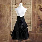Knee-length Black Cotton Ruffles Gothic Lolit... – USD $ 49.99