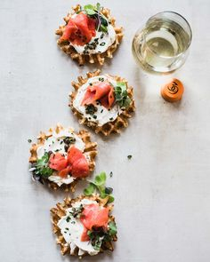 Savory Mini Waffles with Lox and Cream Cheese for brunch