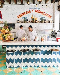 Tacombi mexican cantina in the West Village, New York City has the cutest interiors!