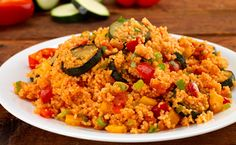 MEDITERRANEAN COUSCOUS SALAD - With ingredients such as baby marrow, red and yellow pepper and tomatoes it is so easy to create this naturally tasty vegan couscous salad