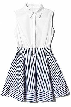 ROMWE | Shirt Collar Sleeveless Dress, The Latest Street Fashion
