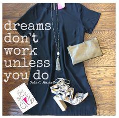 Start the work week off in style! 🖊 👓☕️  Short Sleeve Shift (Black) $75 Tassel Necklace (Black/Grey) $24 XBody Wristlet (Dark Silver) $40 Sam Edelman Yardley (Snake Print) $120  ☎️(210) 824-9988