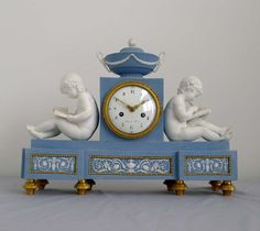 Antique French Directoire bisque library clock by Schmit and case attributed to Dihl and Guérhard at Gavin Douglas Fine Antiques Ltd. in London, specialists in antique clocks and decorative gilt bronze Mantel Clocks, Old Clocks, Antique Clocks, Tick Tock Clock, French Clock, Pocket Watch Antique, Grandfather Clock, Antique Watches, Porcelain Ceramics