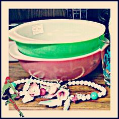 Pink and Green Retro Vintage Pyrex and Wood Flower Necklace from Rockin' Ramzi's Rockabilly and Pin Up Emporium 1st Floor Booth #848 at the One of a Kind Antique Mall, Woodstock Ontario Canada. :) #pyrex #pyrexlove #greenpyrex #pinkpyrex #necklace #pyrexbowl #retro #vintage #antique #woodflower #wood #wooden #woodjewelry #jewelry