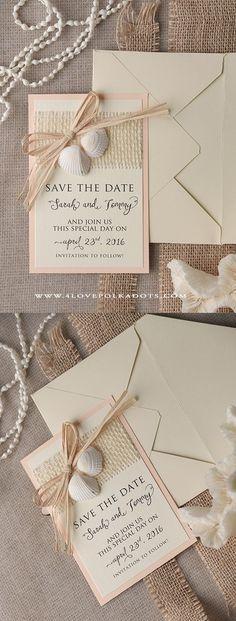 Please Save the Date ! Beach Wedding Save the Date Seashells Card #beachwedding #destinationwedding
