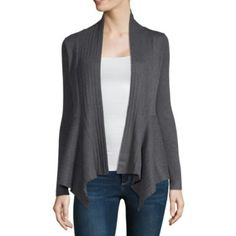55a68fb7374 Liz Claiborne Womens V Neck Long Sleeve Open Front Cardigan - JCPenney