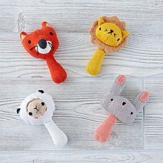 Our animal rattles are made from soft cotton knit and fit perfectly into tiny hands. Each Love Handle Rattle features a colorful wild animal that your little one will love to handle (see what we did there?). Designed exclusively for us by Michelle Romo.