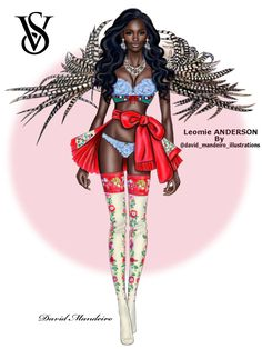 The beautiful Leomie Anderson at the Victoria's Secret Fashion Show 2016 #digitaldrawing by David Mandeiro Illustrations =================================================== #LeomieAnderson #FantasyBra #victoriassecret #Wacom #digitalart #AdobePhotoshopElementsEditor #Wacomcreativeseurope