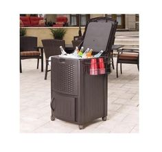 Wicker Ice Chest Outdoor Beverage Cooler Liquor Patio Bar Garden Beer BBQ #WickerResin
