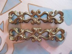 Lot of 2 vintage huge ornate drawer pulls 4 inch by Fairyhome, $12.60 FOR long cabinets by the fridge
