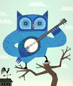 iOTA iLLUSTRATION - The Banjowl - Ltd Edition - Light Green - Owl Print