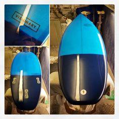 Custom Scavenger Stepup for Pete. 2 tone blue resin tint and polished gloss finish. #visionary #custommade #surfboard #resinart #shortboard #resintint #madetoorder #madeinengland #northeast #scavenger #surfboardshaping http://ift.tt/19MEsb6