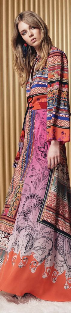 Etro resort 2017 Fashion 2017, Couture Fashion, Runway Fashion, Boho Fashion, Fashion Show, Fashion Trends, Ethnic Fashion, Fashion Ideas, Gypsy Style