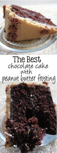 Moist and decadent chocolate cake, smothered with the creamiest peanut butter frosting. The best part is, this is the best chocolate cake with peanut butter frosting! | http://EverydayMadeFresh.com (Best Cake)