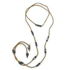 """Marlyn Schiff Tan Suede and Hematite Wrap Necklace  Tan Suede and Hematite Wrap Necklace 53"""" total length CZ's  2 for 1! Can be worn as necklace or bracelet!"""