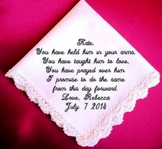 Mother of the  Groom Handkerchief  Heirloom by RidgeTopEmbroidery