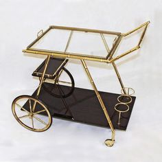 Italian Three Tier Faux Bamboo Cart in Brass Retro Furniture, Antique Furniture, Gold Desk Accessories, Layered Drinks, Faux Bamboo, Home Office Desks, Office Organization, Mid Century Furniture, Drafting Desk