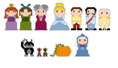 Cinderella Pixel People Character PDF pattern by CheekySharkLabs