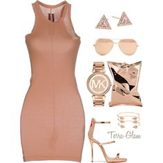 Rose Gold Ready by terra-glam on Polyvore featuring polyvore, fashion, style, DRKSHDW, Michael Kors, EF Collection, CC SKYE, Linda Farrow, Anya Hindmarch and clothing