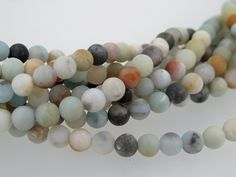 Amazonite. Matte amazonite beads.Multi colored beads. loose gemstone. Round beads 6mm. Full stand by Susiesgem on Etsy