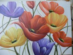 Painting Tips, Fabric Painting, Stone Painting, Big Canvas, Painting Inspiration, Folk Art, Coloring Books, Beautiful Flowers, Watercolor