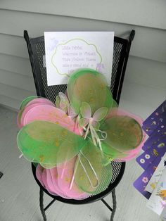 Fairy wing favors at a Tinkerbell fairy birthday party! See more party planning ideas at CatchMyParty.com!